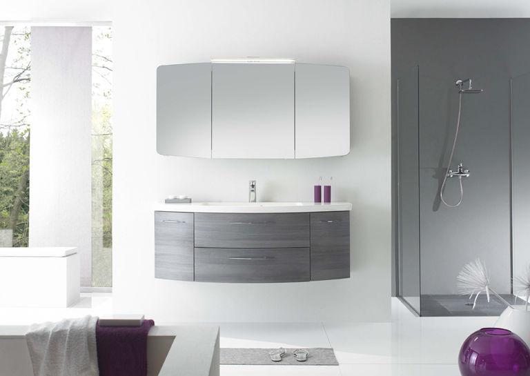 Hängend-Waschtischunterschrank / Holz / modern / mit Lichtspiegel ... | {Waschtischunterschrank holz hängend 120 97}