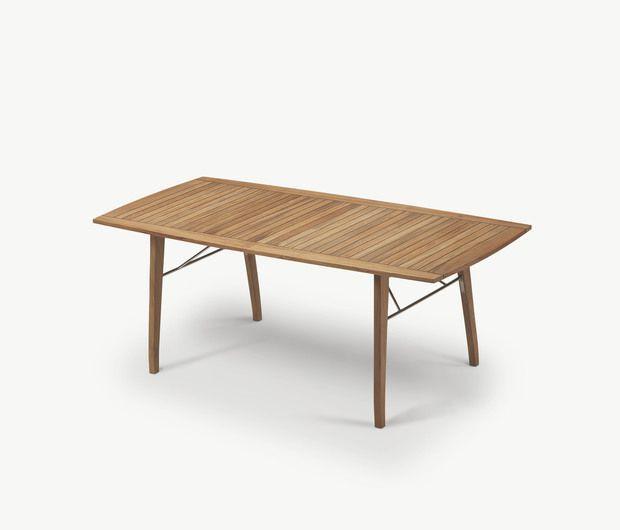 Moderner Esstisch / aus Teakholz / rechteckig / für den Garten ...