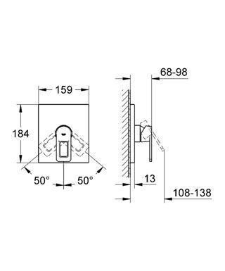 Einhebelmischer Für Duschen / Wandmontiert / Verchromtes Metall / Für  Badezimmer   QUADRA: 19455 000