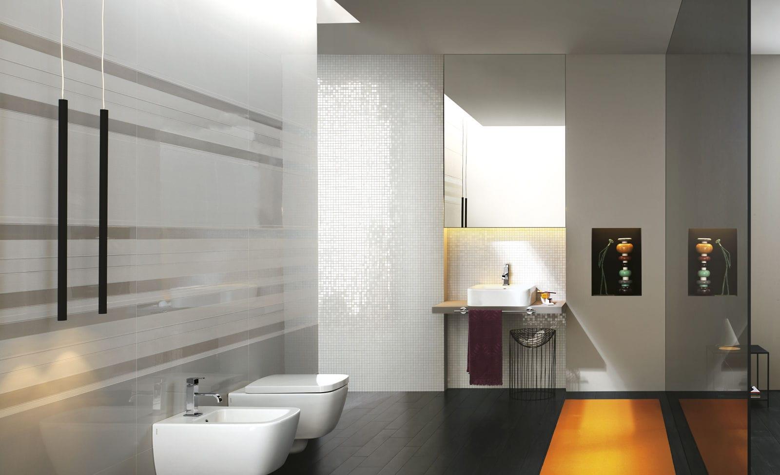 Fliese für badezimmer / wandmontiert / aus keramik / reflektierend ...