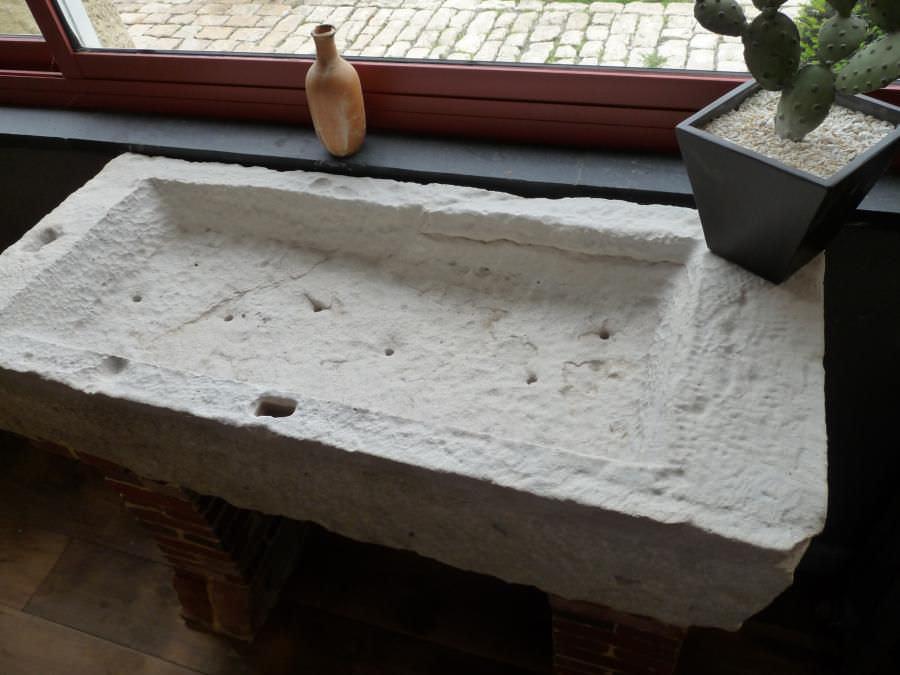 Spülbecken naturstein  Doppelbeckenspüle / aus Naturstein - bca materiaux anciens