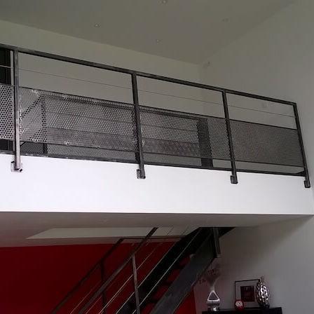 Stahlgeländer / Lochblech / Innenraum / für Treppen - 14 - ESCALIER ...