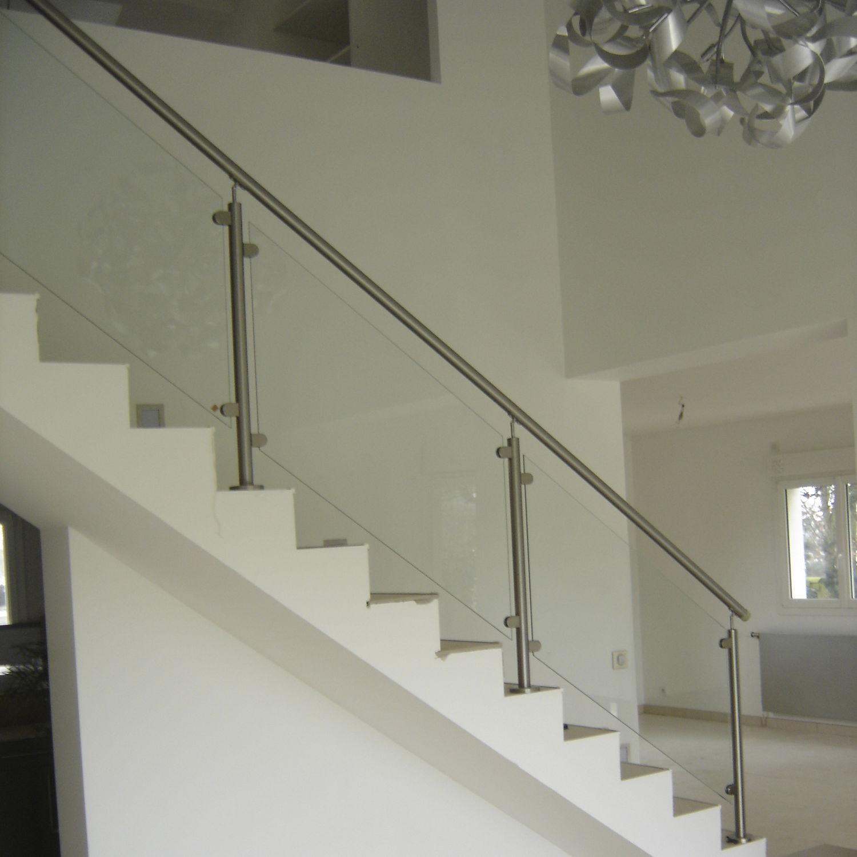 Edelstahlgeländer / Glasplatten / Innenraum / für Treppen ...