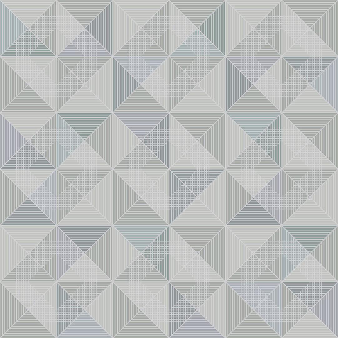 Moderne Tapete / mit geometrischem Muster / weiß / blau ...