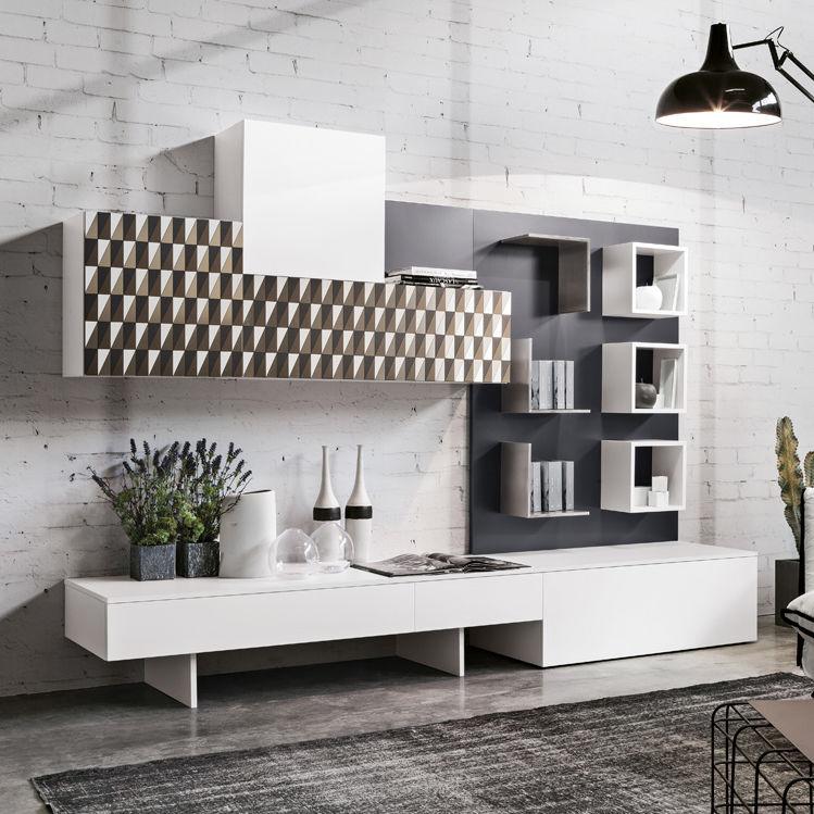 moderner wohnzimmer wohnwand / aus eiche / stahl, Wohnzimmer