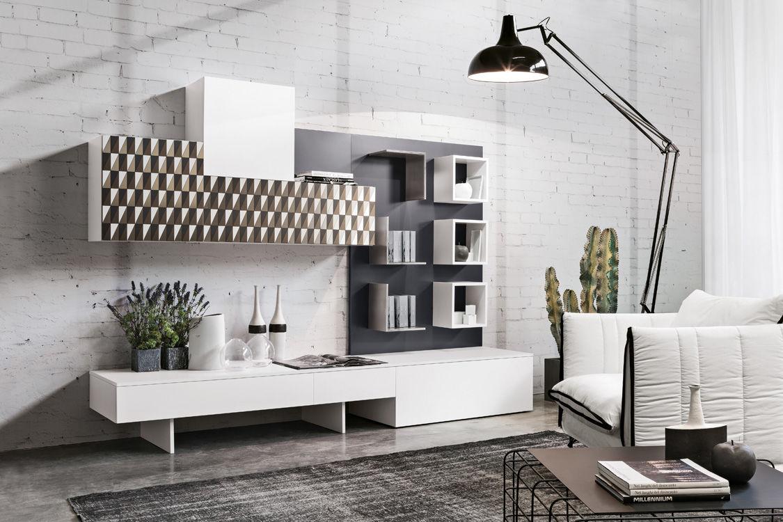 Moderner wohnzimmer wohnwand / aus eiche / aus stahl ...