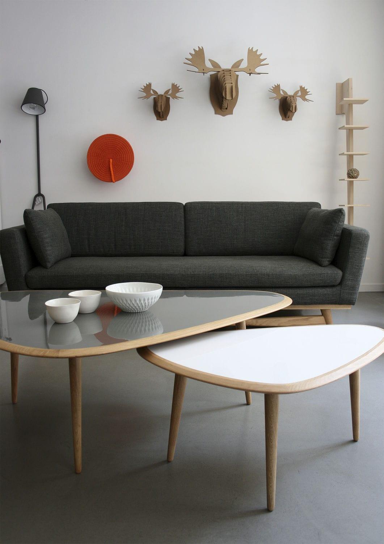 Couchtisch / Skandinavisches Design / Aus Eiche / Lackiertes Holz /  Dreieckig   FIFTIES : LARGE