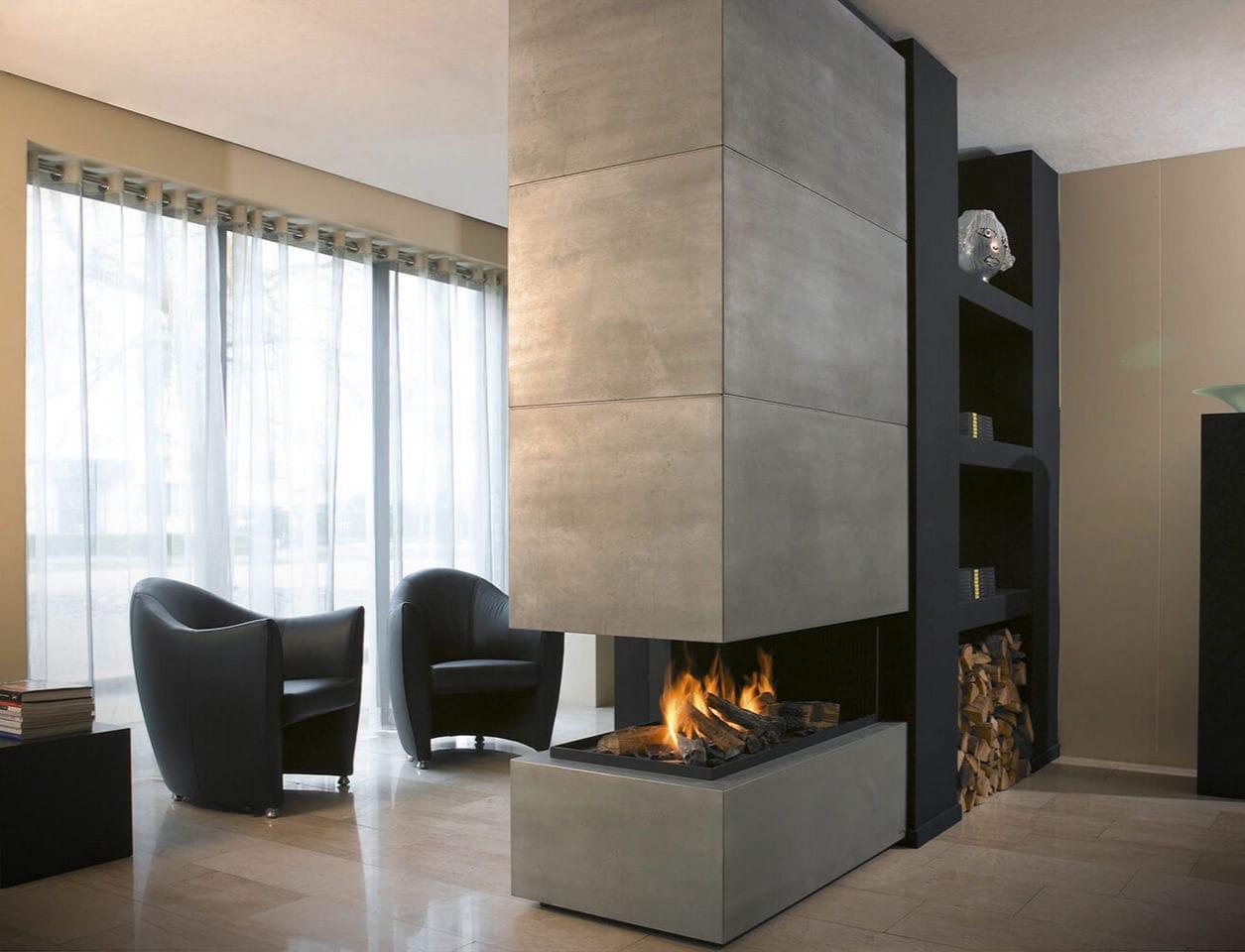 gaskamin bioethanol holz modern 870 modus fireplaces - Modern Rustikale Wohnzimmer Mit Kamin