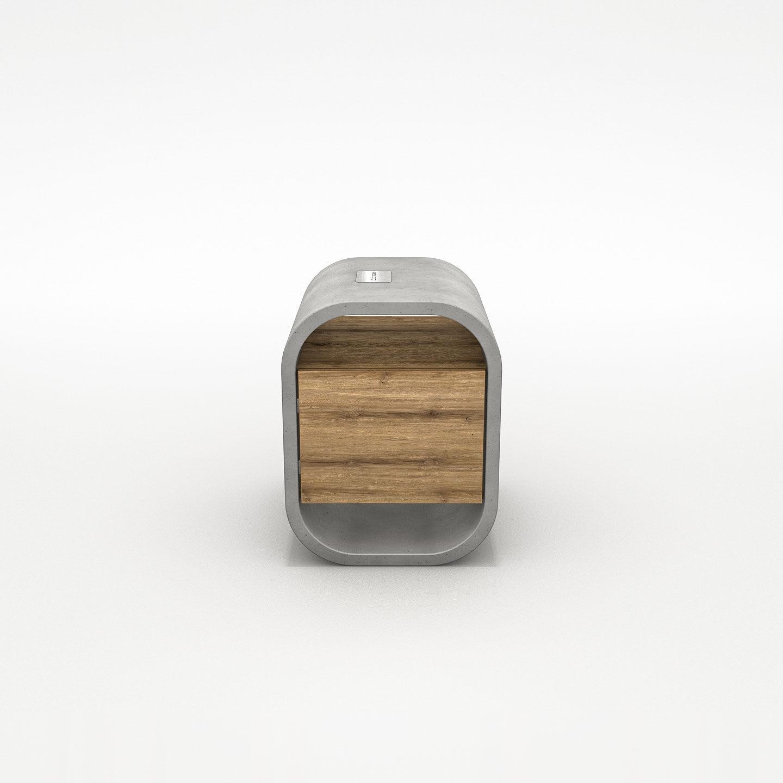 moderner nachttisch / aus eiche / massivholz / beton - opus secreto