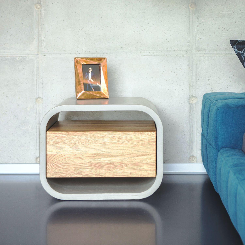 moderner nachttisch / aus eiche / beton / rechteckig - opus secreto