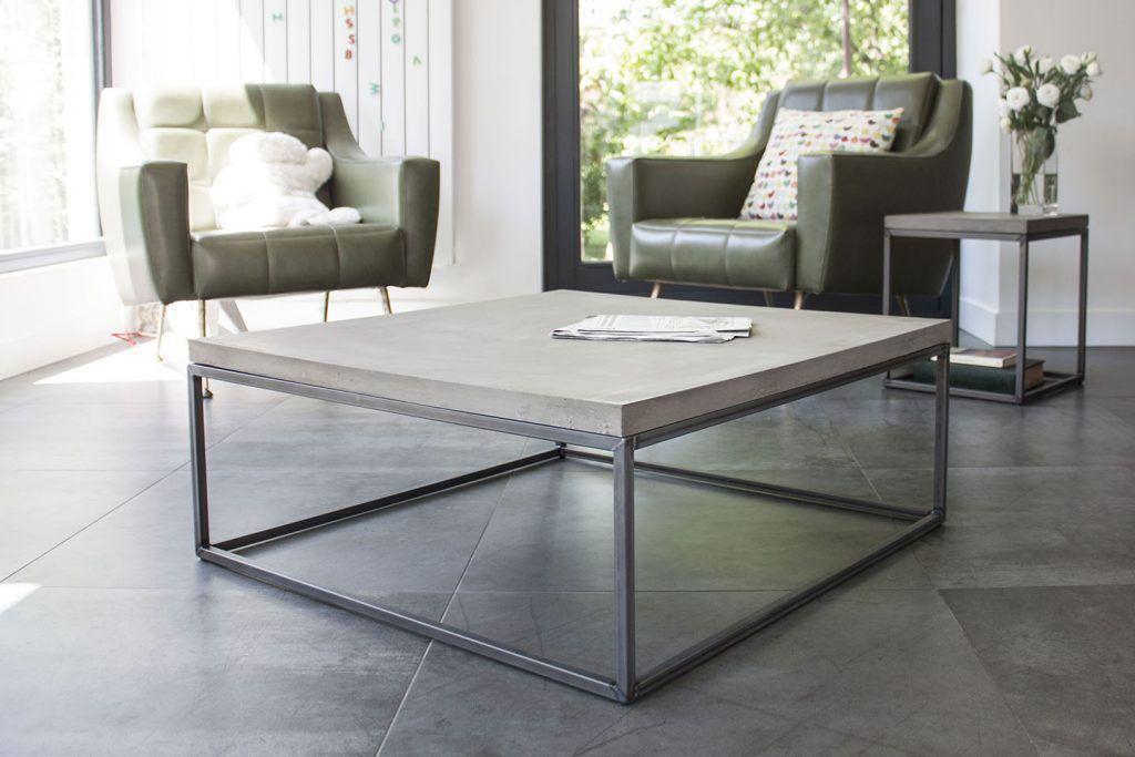Moderner Couchtisch Metall Beton Quadratisch Perspective