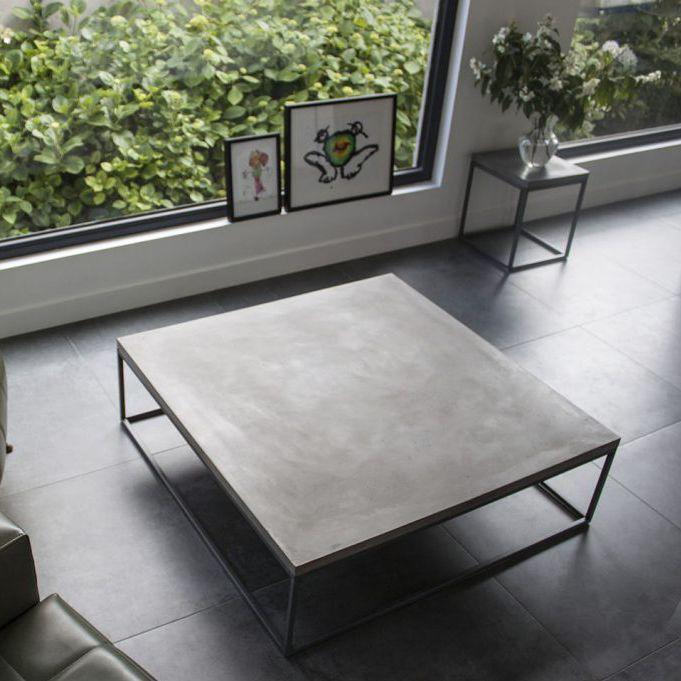 Moderner Couchtisch / Metall / Beton / Quadratisch   PERSPECTIVE Photo Gallery