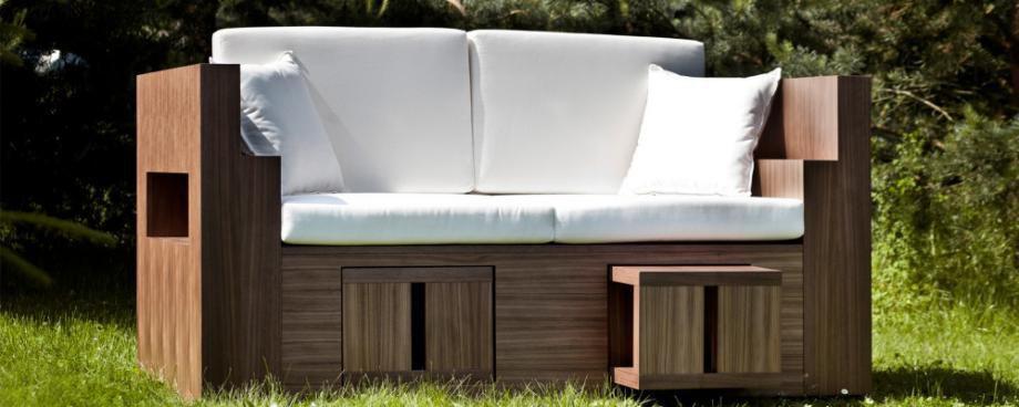 Modernes Sofa / Für Den Garten / Beton / Nussbaum   LOUNGE