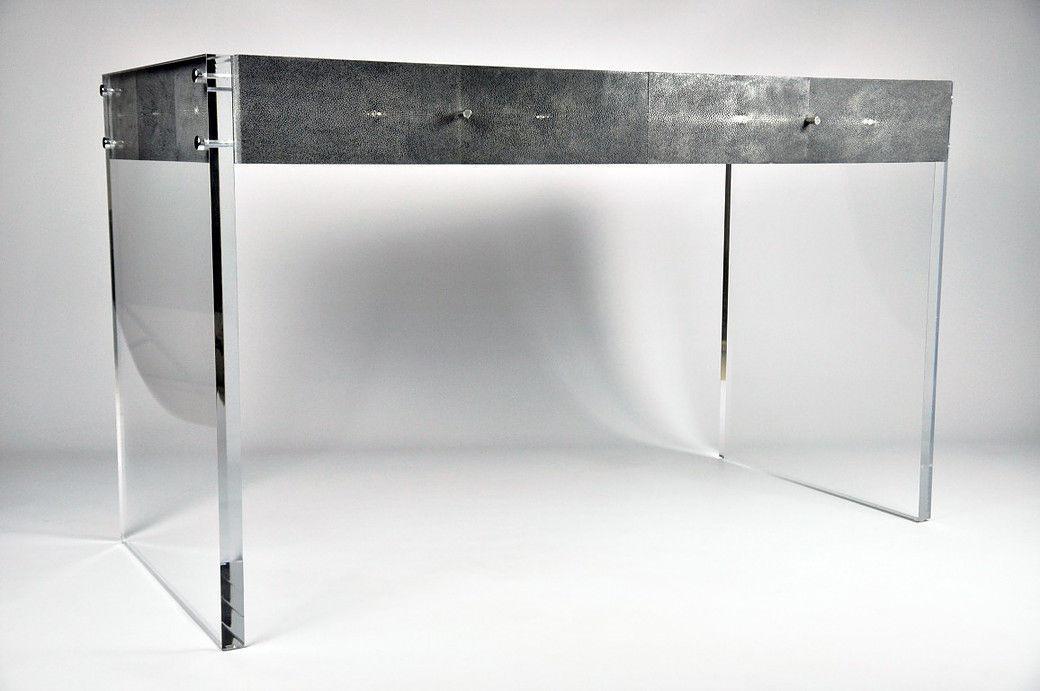 Haifischleder schreibtisch plexiglas® modern d807st pl