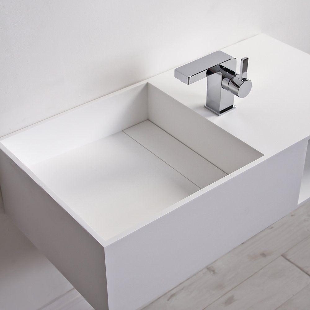 Wand-Waschbecken / rechteckig / aus Mineralguss / modern - CUBIX ... | {Waschbecken rechteckig 41}