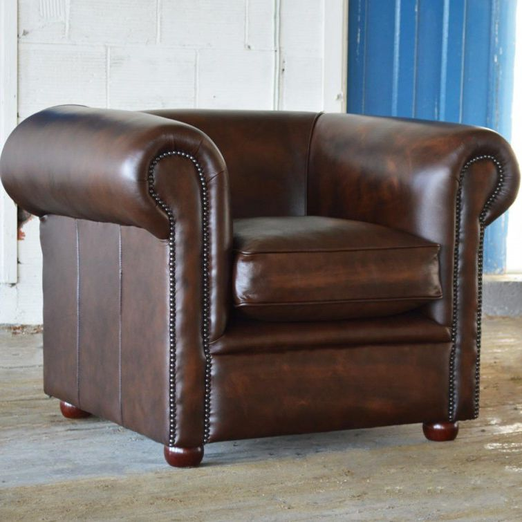 Chesterfield Sessel Leder Braun Antique Deco Abode Sofas