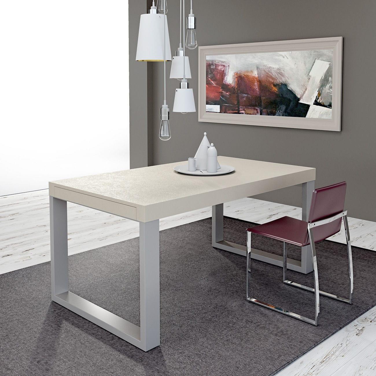 Moderner Esstisch / Metall / gebeiztes Holz / rechteckig - FRAME ...