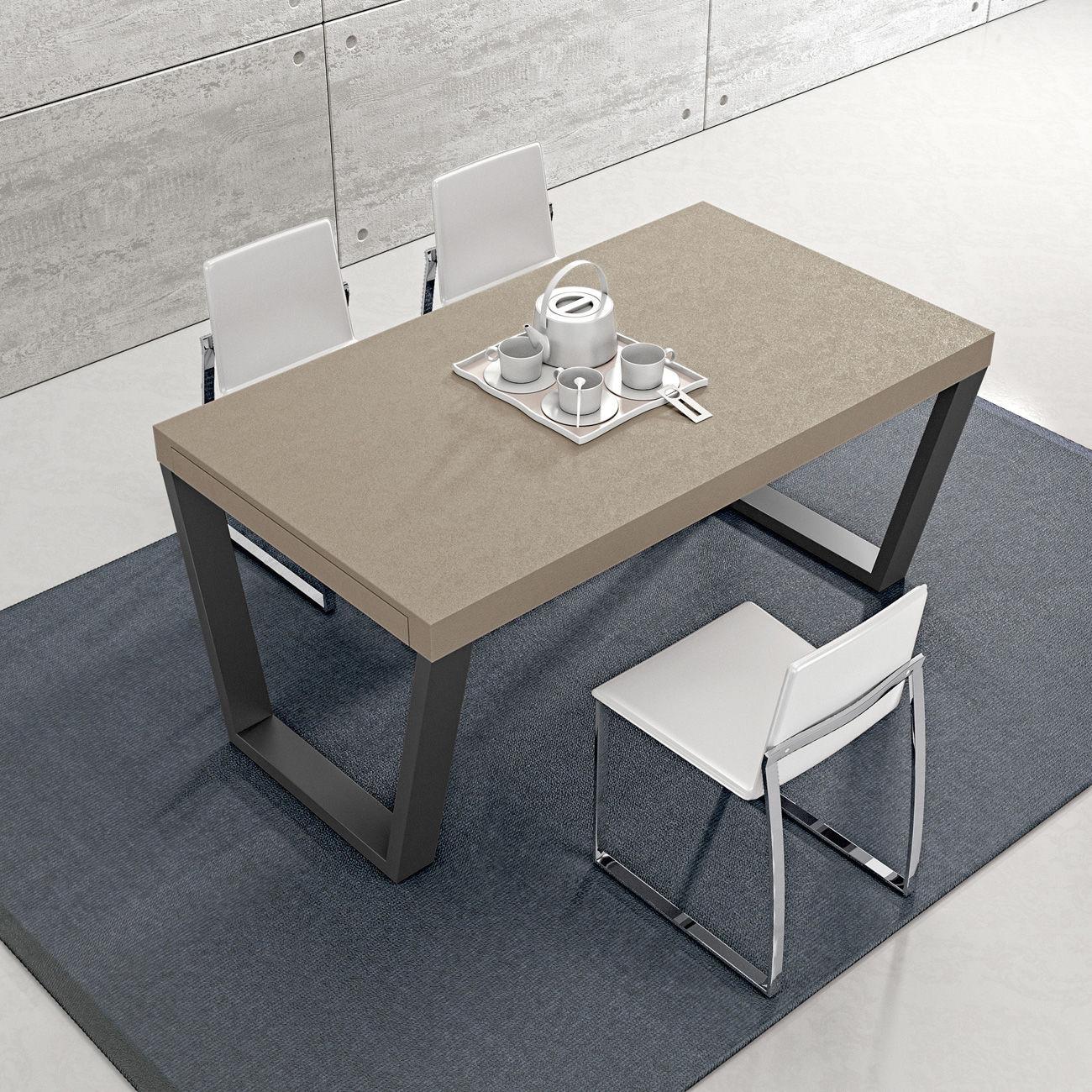 Moderner Esstisch / Metall / gebeiztes Holz / rechteckig - TRAP ...