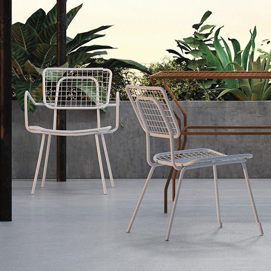 Moderner Gartenstuhl Mit Armlehnen Metall Weiss Opla P