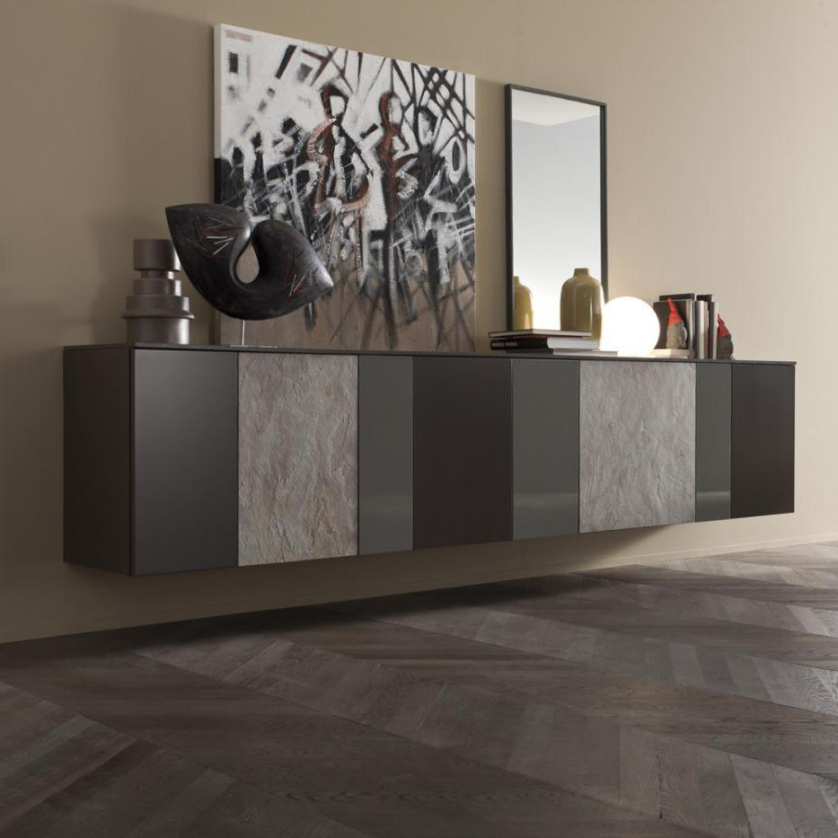 Wandmontiertes Sideboard Modern Lackiertes Holz Grau