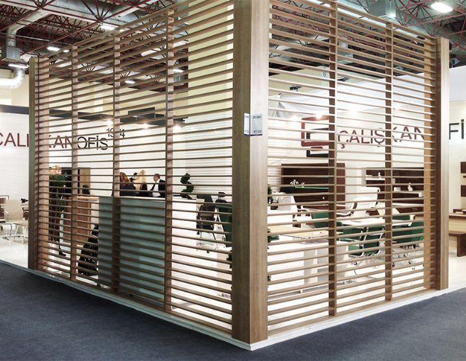 Festinstallierte Trennwand Holz Buro Ahsap Caliskan Ofis