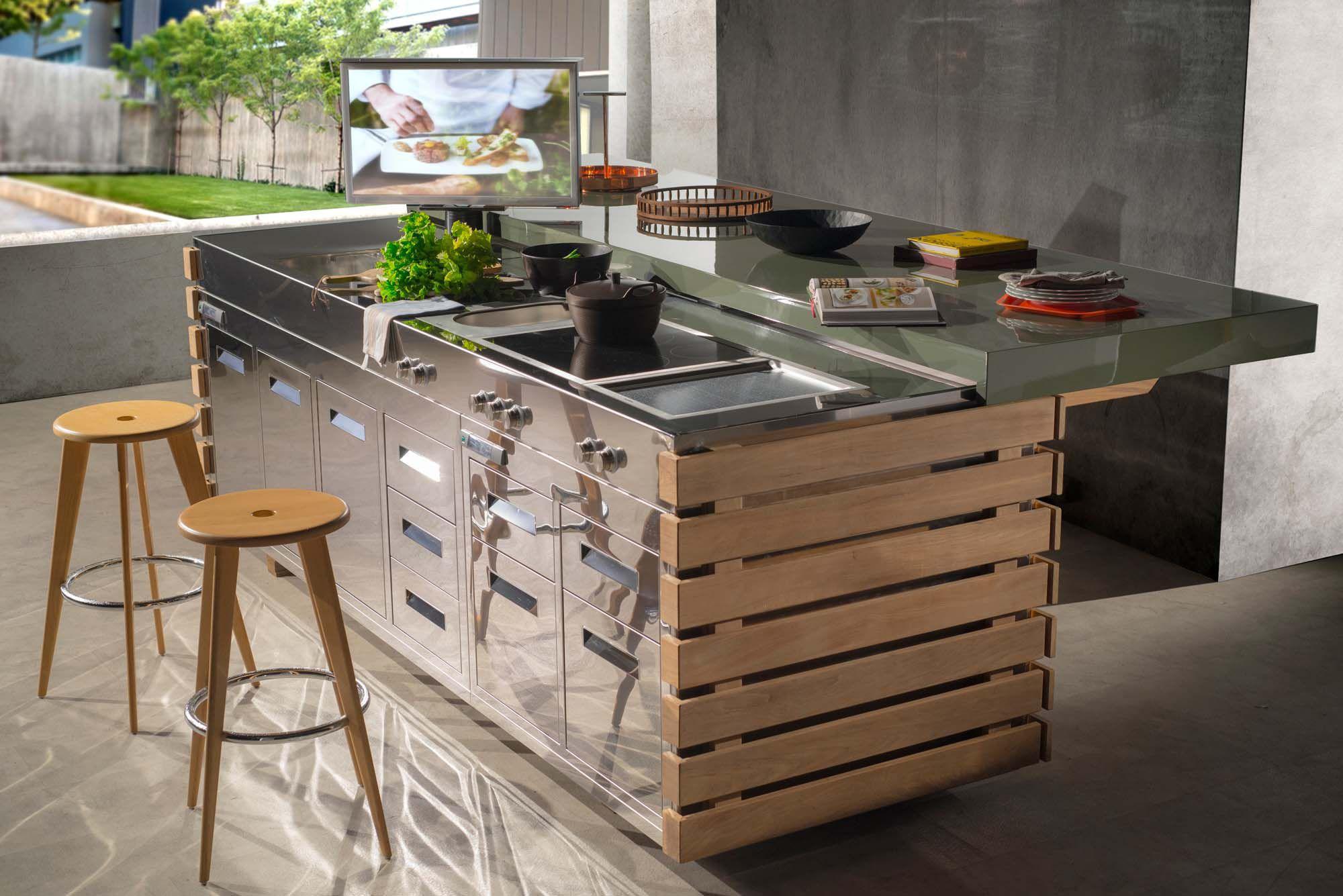 Moderne Küche / Edelstahl / Glasfaser / Kochinsel - PERPETUA ...