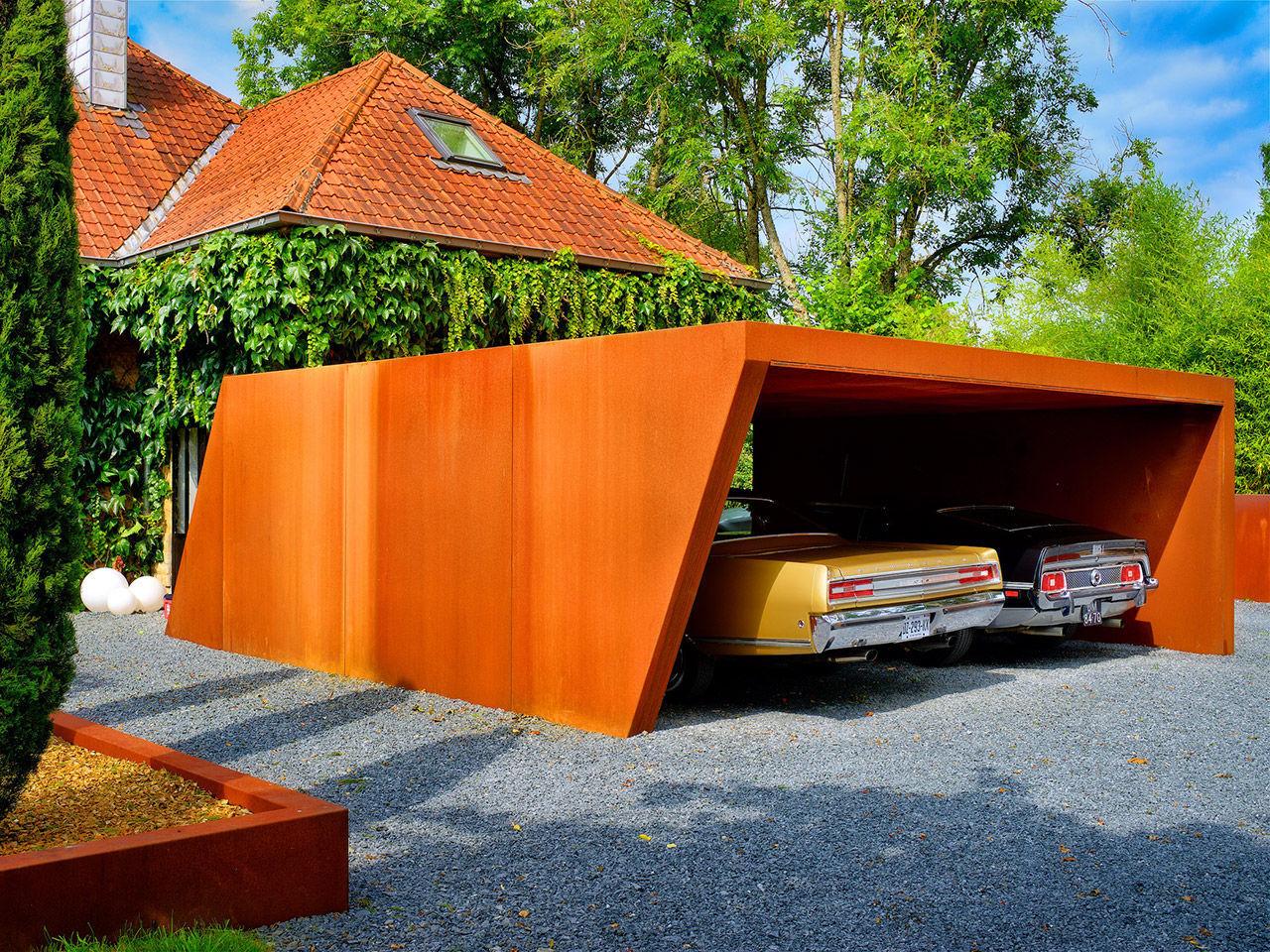 Cortenstahl-carport - Carport - Lmt Produkte Cortenstahl Garten Terrasse Produkte