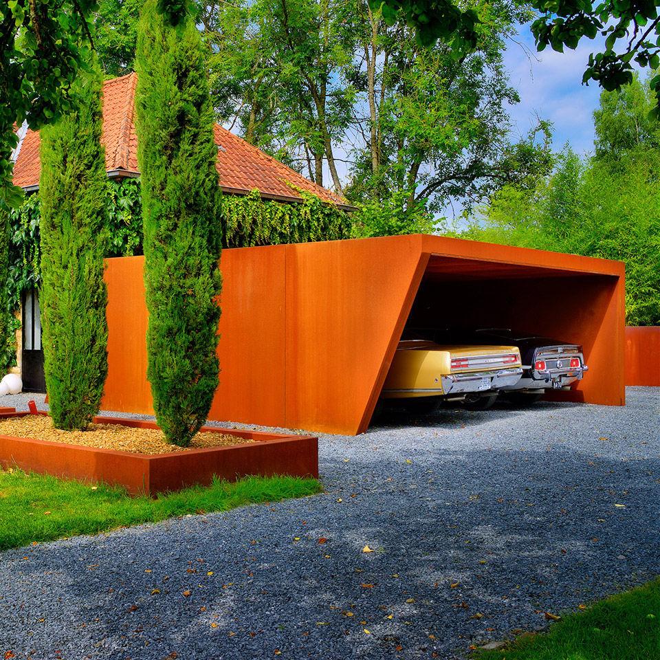 cortenstahl garten terrasse produkte, cortenstahl-carport - carport - lmt produkte, Design ideen