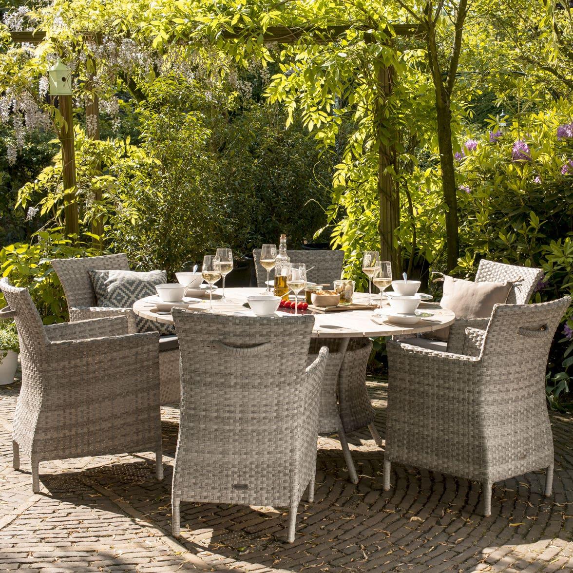 Garten Provence moderne tisch und stuhlkombination aus geflochtenem harz rund
