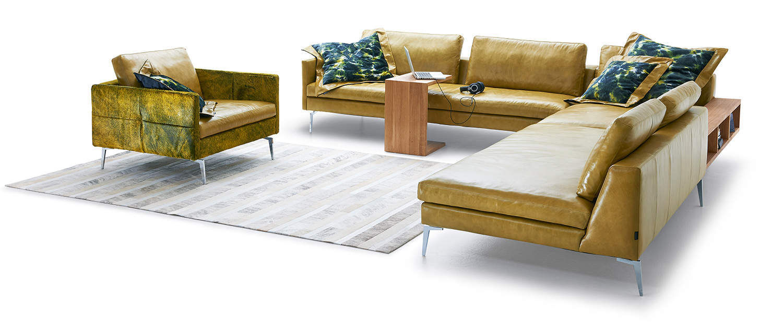 Liegelandschaft Sofa modulierbares sofa eck modern leder huntington tm