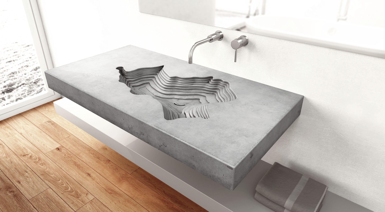 Wand-Waschbecken / rechteckig / Beton / originelles Design - MAP ...