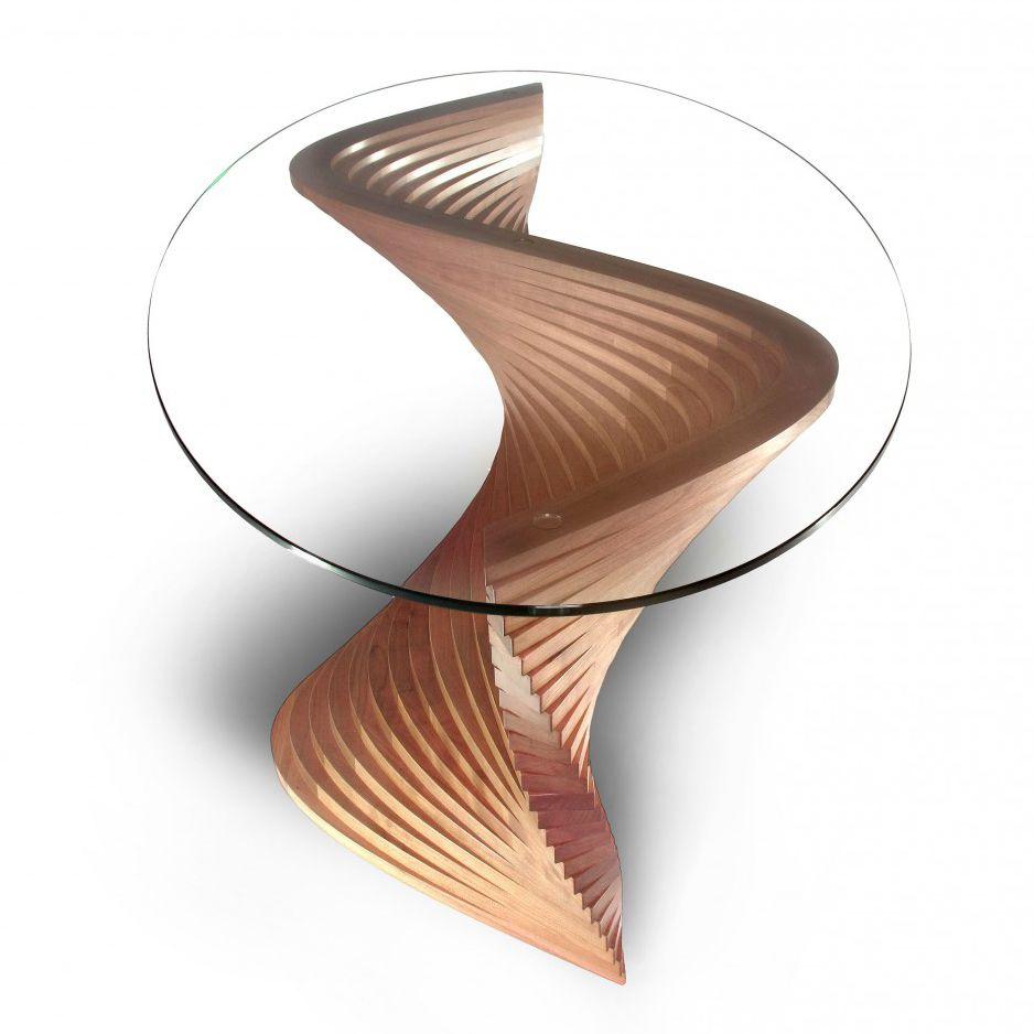 Moderner Couchtisch Aus Kirschbaum Glas Oval Sidewinder Ii