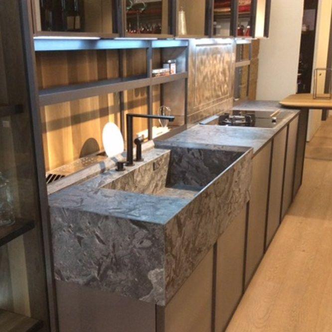 Quarzit-Arbeitsplatte / Küchen - IRON GREY - jaipur pietre
