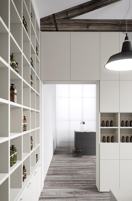 holz boden und decke modern interieur, decke/boden-regal / modern / lackiertes holz / mit stauraum - cinquanta3, Design ideen