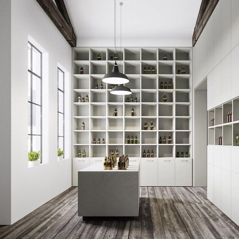 Decke/Boden-Regal / modern / lackiertes Holz / mit Stauraum - cinquanta3