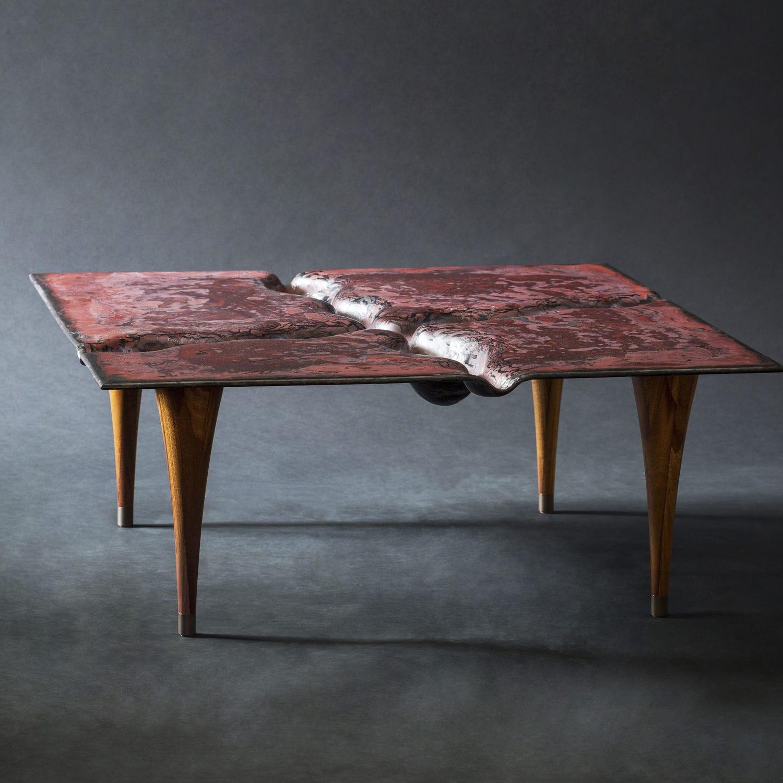 Couchtisch Originelles Design Holz Glas Quadratisch Mars2