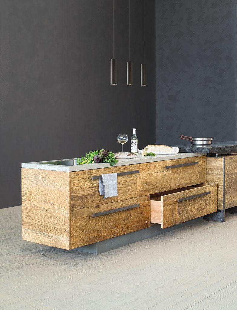 Moderne Küche / Ulme / Stein / Metall - VULCANO - Nature Design