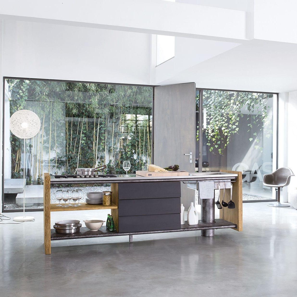 Moderne Küche / Esche / Ulme / Stahl - MONTECRISTO - Nature Design