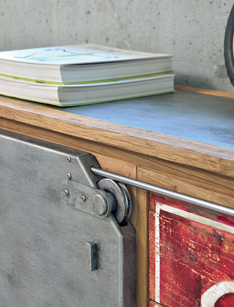 Modernes Sideboard Ulme Metall Industrial Nature Design