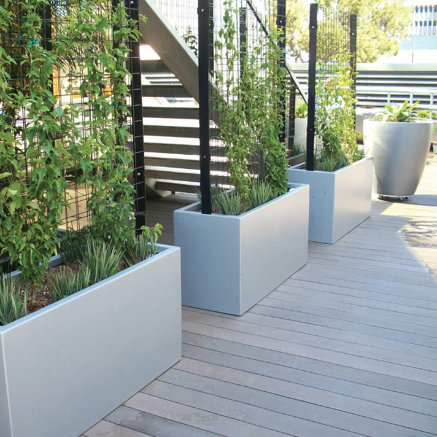 glasfaser-pflanzkübel / aus glasfaserverstärktem beton / rechteckig