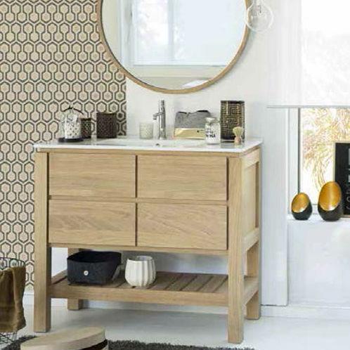 Waschtischunterschrank freistehend  Freistehender Waschtischunterschrank / aus Eiche / modern / mit ...