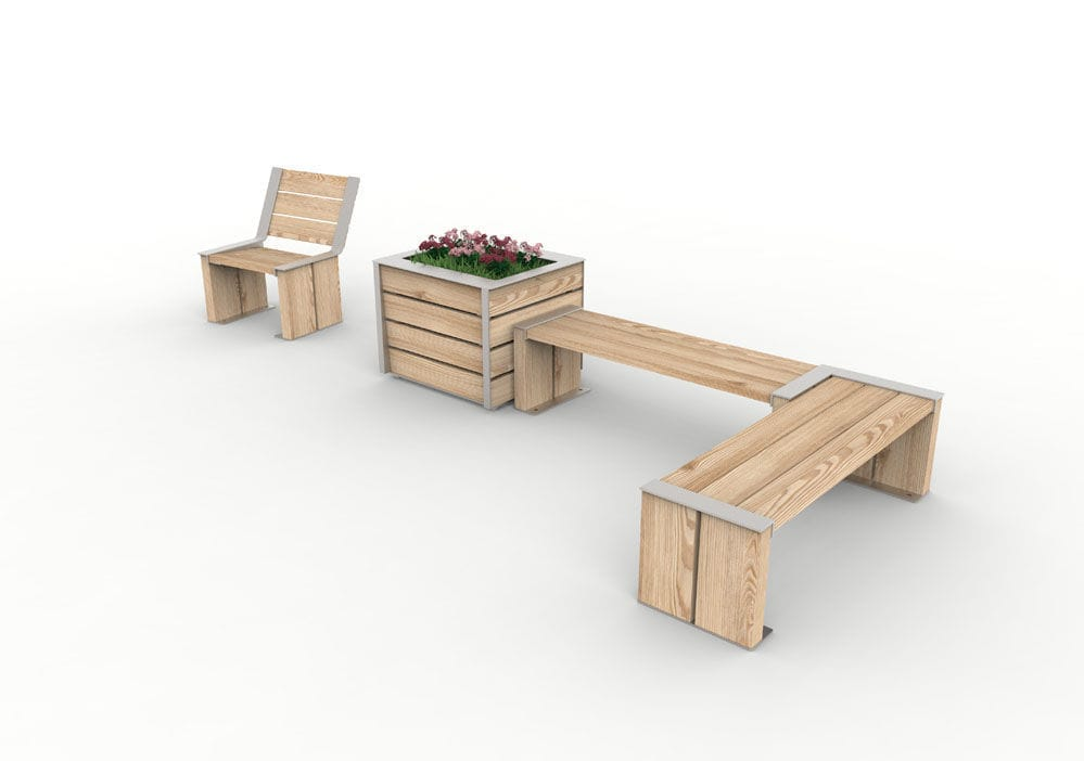 Stahl-Pflanzkübel / Holz / rechteckig / modern - NUT - POLYMOBYL