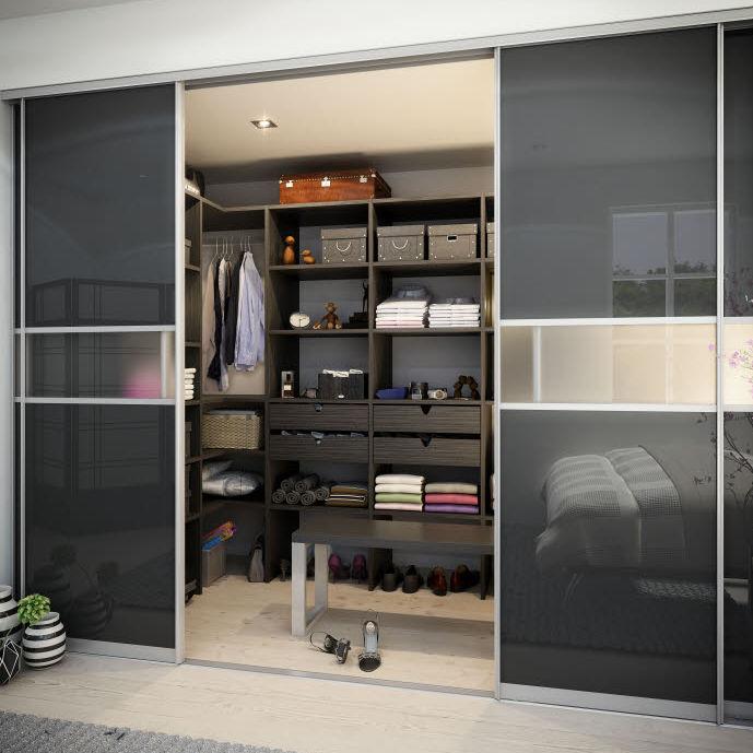 Moderner Begehbarer Kleiderschrank Holz Schiebetüren Hth Køkkener