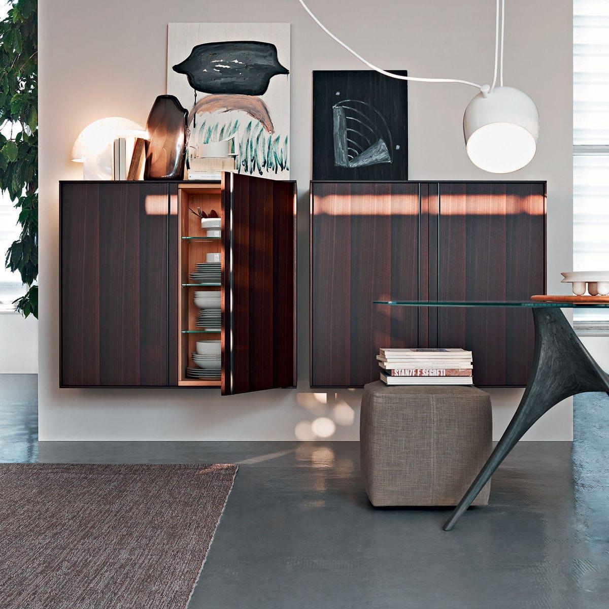 Moderner Wohnzimmer Wohnwand Holz Glas Aluminium
