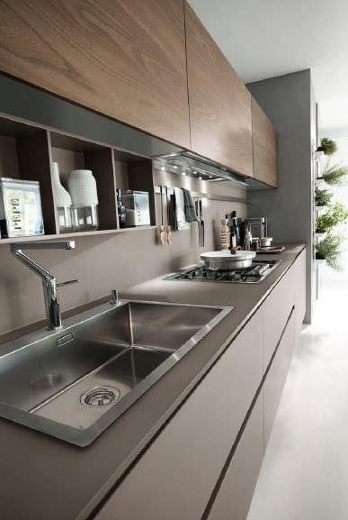 ... Moderne Küche / Glas / Holzfurnier SYSTEM COLLECTION Pedini ...