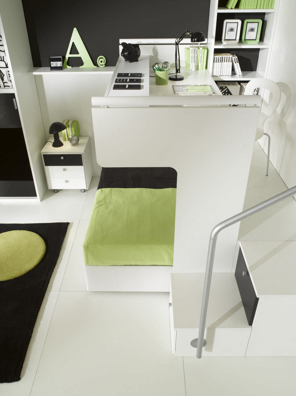 Holz Schreibtisch Modern Mit Ausziehbarem Bett Fur Kinder