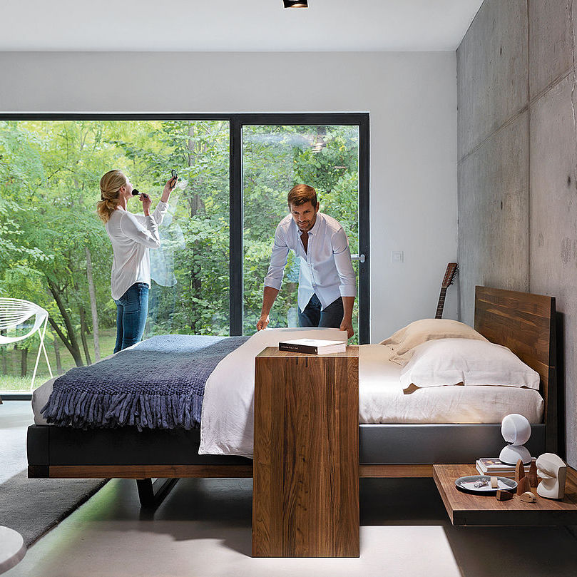 Doppelbett Modern Kopfteil Mit Integriertem Nachttisch