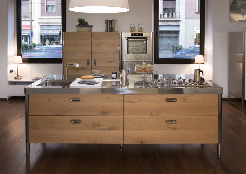 Moderne Küche / Holz / aus Edelstahl / Kochinsel - ALPES-INOX
