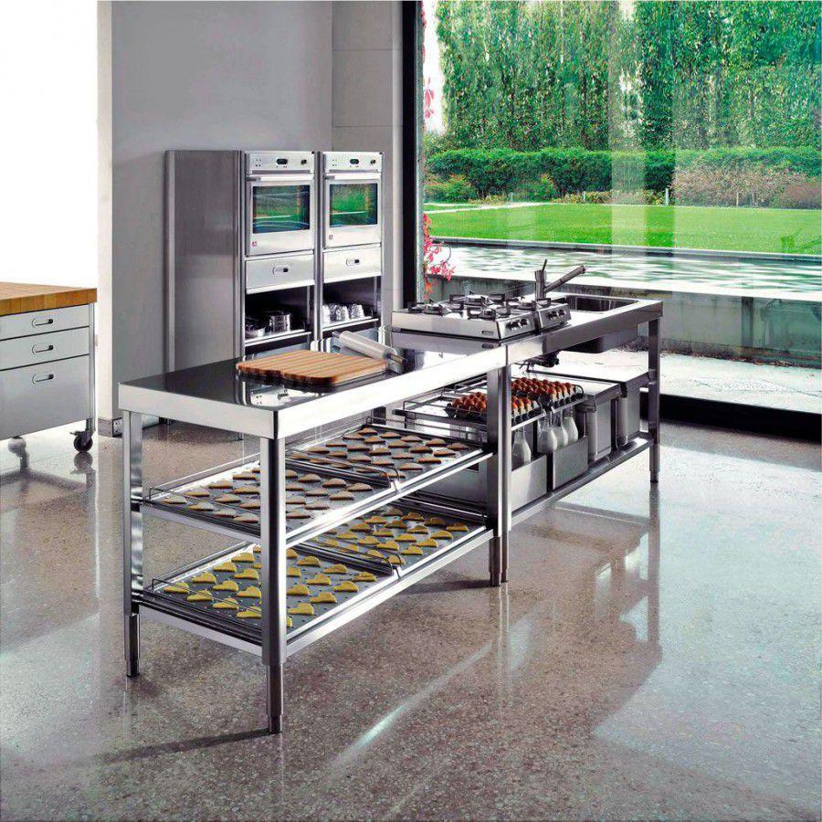 Moderne Küche / Edelstahl / Kochinsel / mit integriertem Griff - 160 ...