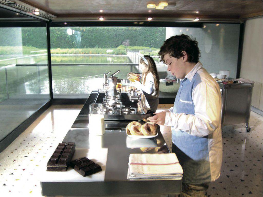 Moderne Küche / Edelstahl / Kochinsel / mit integriertem Griff - 130 ...